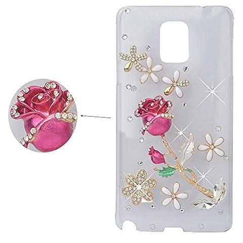 spritech (TM) cristal rose design élégant Fleur Decor Coque 3D Bling Strass Etui Housse rigide transparent, Color-5, Samsung Galaxy S5 Mini