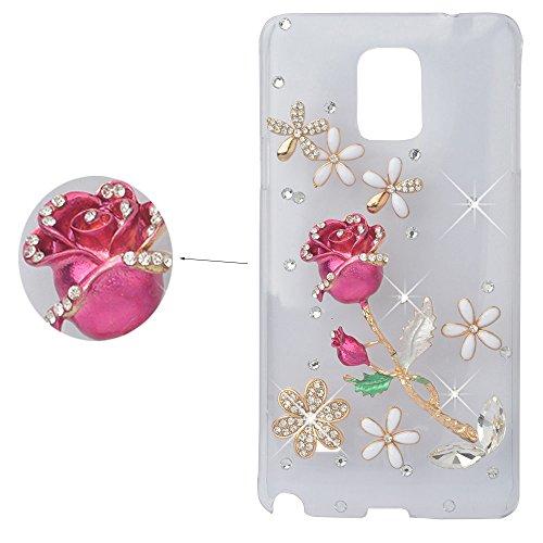 Preisvergleich Produktbild spritech (TM) Crystal Rose Decor Blume Elegant Fall Bling 3D Strass Klar Design Hard Cover Fall,  Color-5,  Samsung Galaxy Note 3