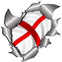 Totally Graphics small size St George Cross Flag Metal Rip Open Sticker