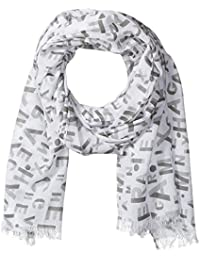 Armani Exchange Men's All Over Logo Printed Light Weight Scarf, White, One Size