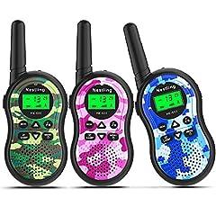 Idea Regalo - Nestling Walkie Talkie Bambini,8 Canali 2 Way Radio Ricetrasmittenti e VOX Scansione Auto,Torcia con LED (3 Pezzi Camouflage,Rosa,Blu,Verde)