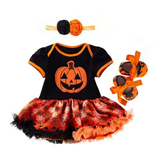 Riou Halloween Kostüm Mädchen Kürbis Kostüm Kleinkind Baby Kinder Mädchen Karneval Fasching Halloween Pumpkin Printed Strampler + Tutu Tüll Rock + Haarband + Schuhe Outfits Set (66, Orange)