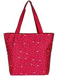 "BEST SHOP TOTE SHOPPING HANDBAG IN BEAUTIFUL SATIN DOTTED PRINT-""14.5 INCHES"" BIG SIZE Pink Bag"