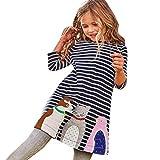Overdose Kleinkind Baby Mädchen Kind Herbst Kleidung Pferd Print Stickerei Prinzessin Langarm T-shirts Party Kleid Mini Kleid(2-3T,A-Navy)