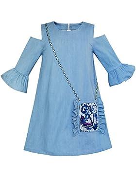 c1d27b0745 Sunny Fashion Vestido para niña Frío Hombro Mezclilla Azul Vaquero 3 4  Manga 6-