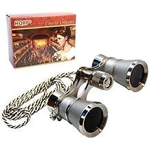 HQRP Prismáticos de ópera / Binocular de Teatro 3 x 25 de color platino con cadena plateada