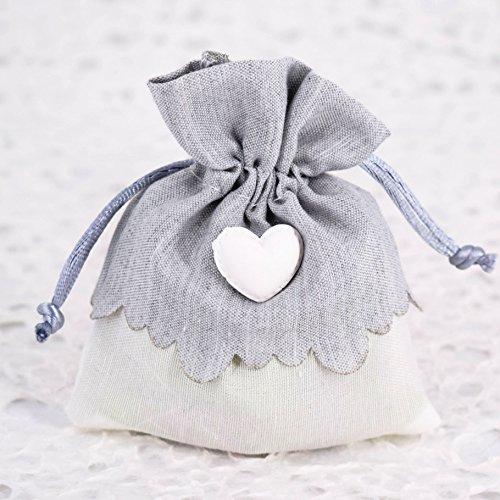 Sacchetti portaconfetti bomboniere con cuore - 20 pz - per battesimo - comunione - cresima - promessa - compleanno - bigliettini personalizzabili in omaggio
