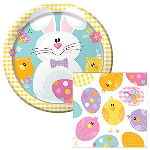 Happy Easter Picknick Lunch Teller und Servietten Party-Set für 8 - French-terry-lang Kurz