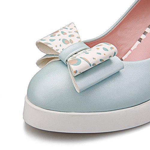 VogueZone009 Damen Rund Zehe Hoher Absatz Blend-Materialien Rein Ziehen Auf Pumps Schuhe Blau