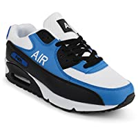 Mens Shock Absorbing Air Running Trainers Jogging Gym Fitness Trainer New Shoes (8 UK, White/Blue)