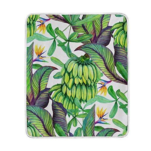 tropischen Regenwald Banana Leaf Watercolor Banana Übergroße Überwurf Decken für Polyester-Couch Sofa-König Queen Size Betten Home Decor Zimmer Betten Steppdecke für Sofa, Polyester, multi, 50x60
