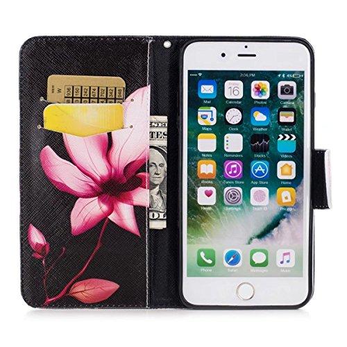 iPhone 7 Plus Hülle, iPhone 7 Plus Wallet Hülle, Gift_Source [ Paar Eule & Baum ] Magnetisch Dünn Leder Folio Flip Klapphülle Etui Schutzhülle Tasche Case mit Magnetverschluss und Kartenfächer Handy T E1-Lotus