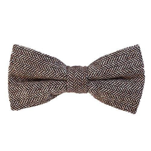 DonDon Herren Fliege 12 x 6 cm kariert gebunden und stufenlos justierbar aus Baumwolle im Tweed Style braun