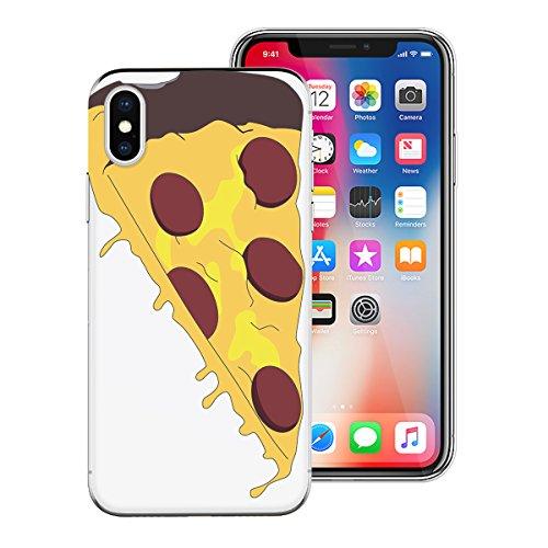 HB-Int Hülle für iPhone X Handytasche TPU Silikon Backcover Durchsichtig Transparent mit Pizza Muster Ultra Dünn Schutzhülle Bumper Flexible Case Pizza