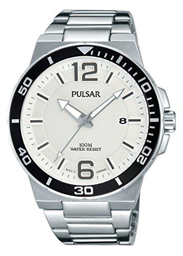 PULSAR MEN'S 43MM STEEL BRACELET & CASE QUARTZ SILVER-TONE DIAL WATCH PS9403