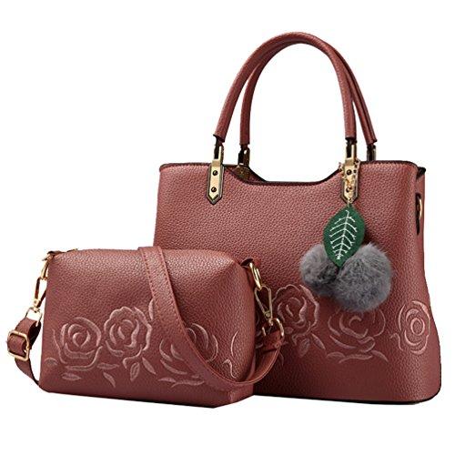 YouPue 2 Stück Set Praktisch Damen Handtaschen Kunstleder Henkeltaschen + Umhängetasche Crossbody Tasche #_Rot(2pcs)