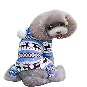 SAMGU Cappotto con Cappuccio per Cani Natale Caldo Maglione Invernale Rosso L