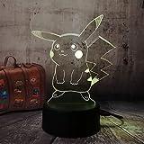 1 PACK, Chaud, Pour Pokemon GO, Figurine 3D Atmosphère Illusion Veilleuse, Pour Pikachu, Chambre à coucher Enfants Cadeau Creative 3D illusion Lampe