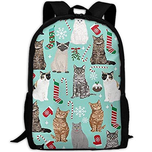 Christmas Cat Candy Cane Stocking 3D Print Backpack College School Laptop Bag Daypack Travel Shoulder Bag for Unisex