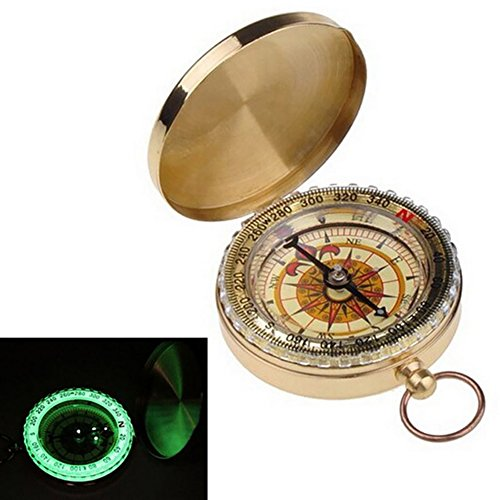 (myfei Tragbare Messing Pocket goldene Kompass, helle Navigation Flip Multifunktions-Metall Kompass für Outdoor Camping Wandern)