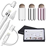 Qoosea Tappo Apple Pencil [6 Pezzi] Tappo di Ricambio Accessori cap Holder/Nib Cover/Lightning Cable Tether Adapter 3 Pack 2 in 1 Magnetic Stylus Cover per Apple iPad Pencil Pen(6pcs)