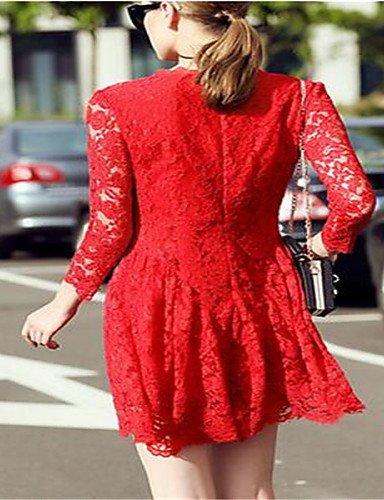 PU&PU Robe Aux femmes Lace Street Chic,Couleur Pleine Col Arrondi Au dessus du genou Polyester BLACK-L