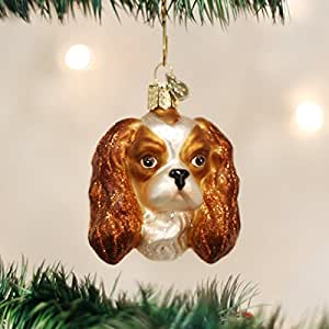 Old World Christmas King Charles Spaniel Head Glass Blown Ornament by Old World Christmas