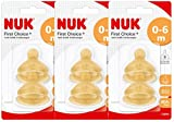 Nuk 10120013 Latex-Trinksauger First Choice+, Größe 1 (0-6 Monate) S, 3er Pack (3 x 2er Blister)