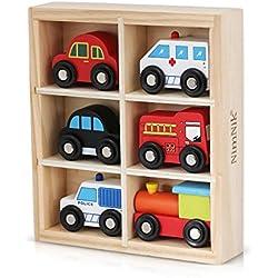 Juguetes de madera Auto Bus Engine Vehículos de emergencia Juguete educativo para el aprendizaje temprano de 3 años de edad por NimNik