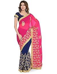 Chhabra 555 Blue & Pink Half & Half Georgette Embroidered Saree