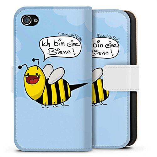 Apple iPhone 5 Silikon Hülle Case Schutzhülle DirtyWhitePaint Fanartikel Merchandise Ich bin eine Biene! Sideflip Tasche weiß
