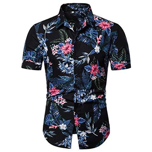 MCYs Herren Button-Down-Kragen Bedruckt beiläufige Kurze Ärmel Slim Fit Hemd Top Bluse