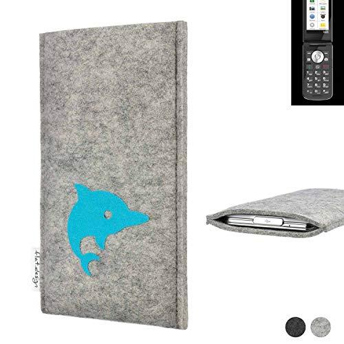 flat.design Handy Hülle für Emporia TOUCHsmart FARO mit Delphin handgefertigte Filz Tasche fair