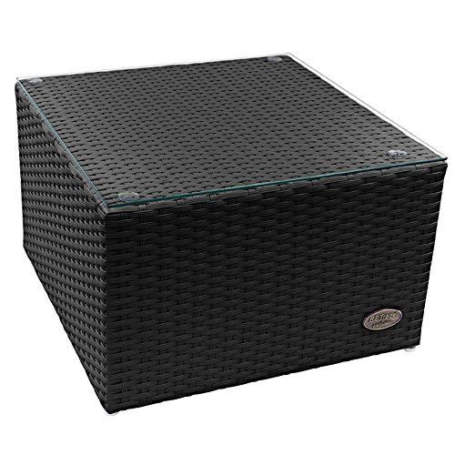 RS Trade 'Toscana' Polyrattan Beistelltisch mit verstärktem Alu-Gerüst und Temperglas Tischplatte (bis 90 kg als Hocker nutzbar), integrierte Spannbänder und höhenverstellbare Standfüße, Schwarz -