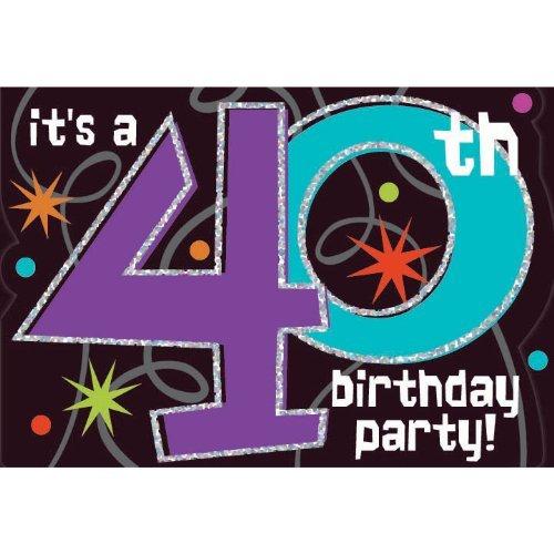 The Party Continues Einladungskarten zum 40. Geburtstag, 8 Karat