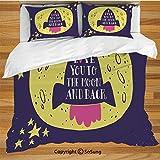 Ensemble de housse de couette Love Decor Literie, Rocket va à l'espace Je t'aime à la lune et retour Devis Étoiles Solaire Cute Design Ensemble de literie décoratif de 3 pièces avec 2 taies d'oreiller...