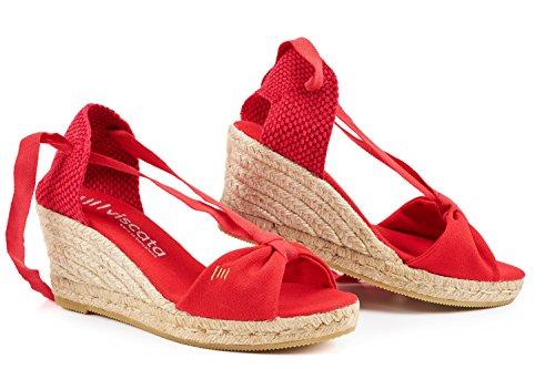 VISCATA Barcelona Damen Espadrilles, Rot - Rojo - Rojo - Größe: 41 EU M (Glitter Sandal Rote)