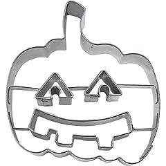 Idea Regalo - Stampini per biscotti a forma di zucca di Halloween con volto in rilievo, argento