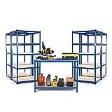 Kit de garaje para principiantes con 4 estanterías de 450 mm de profundidad y una mesa de trabajo de 600 mm de profundidad