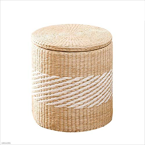 Hocker Arbeitshocker Sitzhocker Sitzbank Badhocker Fußbank Rebe Stroh Lagerung Sortierung Bezogen Großhandel Fußstütze Sofa Kann Spielzeug Sitzen CONGMING (Farbe : A-Round-Grass, größe : Small)