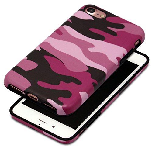 4.7 iPhone 7 SGSELLER TPU Slim Fit Ultra Dünn Stoßfest Anti-Kratz Anti-Fingerabdruck Matt Schutzhülle Gehäuse, Plastik (Marble (Black Green)) Camo (Pink)