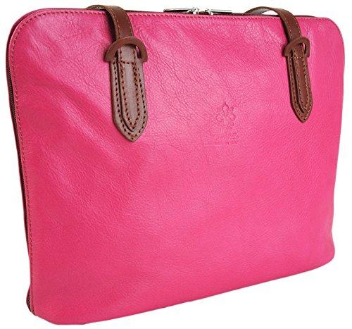 Vera Pelle , Damen Schultertasche L kirsch-pink