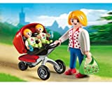 PLAYMOBIL City Life Mother with Twin Stroller 3Stück (S) Baufigur–Bau (Mehrfarbig, Figuren 4Jahr (S), 10Jahr (E), Mädchen, 3Stück (S))