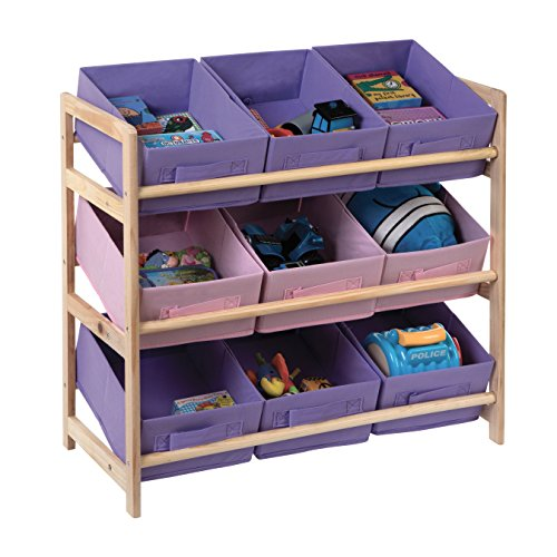 3 Tier Storage Unit With 9 Pastel Coloured Canvas Bins