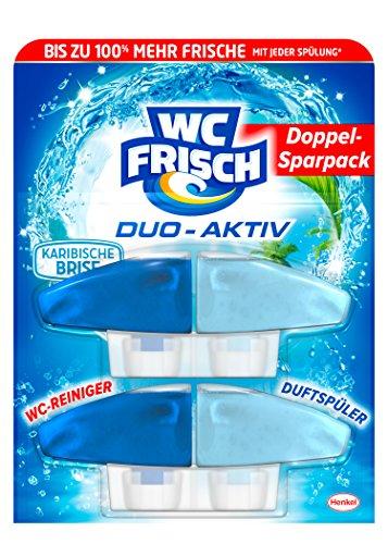 WC Frisch Duo Aktiv Duftspüler Karibische Brise Nachfüllpack, 4er Pack (4 x 2 Stück)