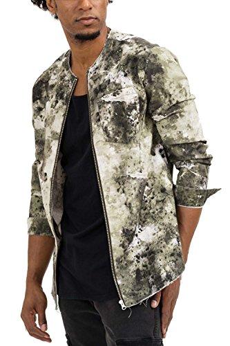 Trueprodigy casuale uomo camicia camouflage militare, abbigliamento urban moda collo coreana (manica lunga & slim fit classic), shirt moda vestiti colore: kaki 2073105-0629-m