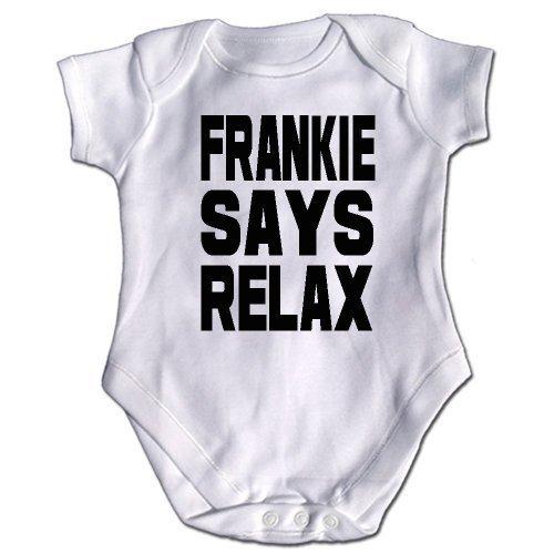 "Baby Strampler Aermellos ""Frankie Says Relax"" Inschrift - Weiß, 3-6 Monate"