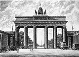 Einfarbige original Radierung Berlin, Brandenburger Tor mit Siegessäule von Bruck als loses Blatt, Graphik, kein Kunstdruck, kein Leinwandbild