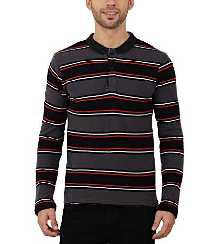 Nick&Jess Mens Charcoal Grey Multi Striped Full Sleeve Polo T-Shirt  available at amazon for Rs.211