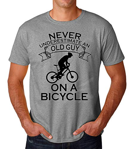 eafac165c PasTomka Never Underestimate An Old Guy On A Bicycle Men's T-Shirt Hombre  Camiseta X